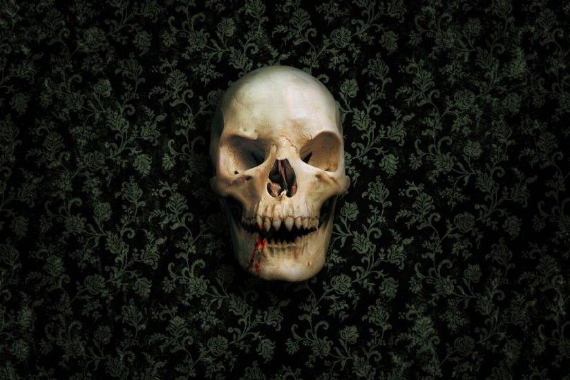 1920x1080 Wallpaper skull, skeleton, wall, green, dark