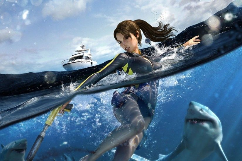 Lara Croft surrounded by sharks in Tomb Raider wallpaper