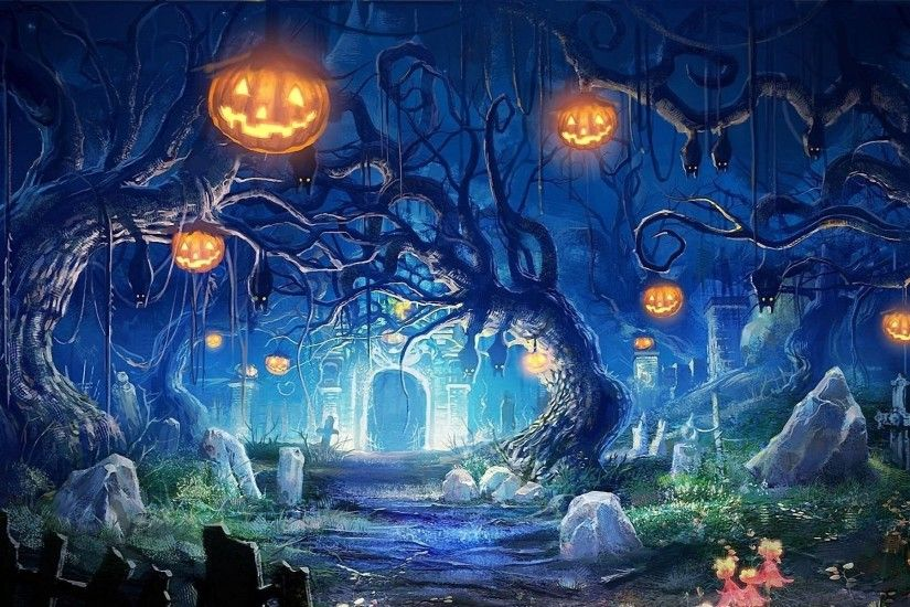 FunMozar Halloween Hunted House & Graveyard Wallpapers Source · Halloween  Cemetery 807871 WallDevil