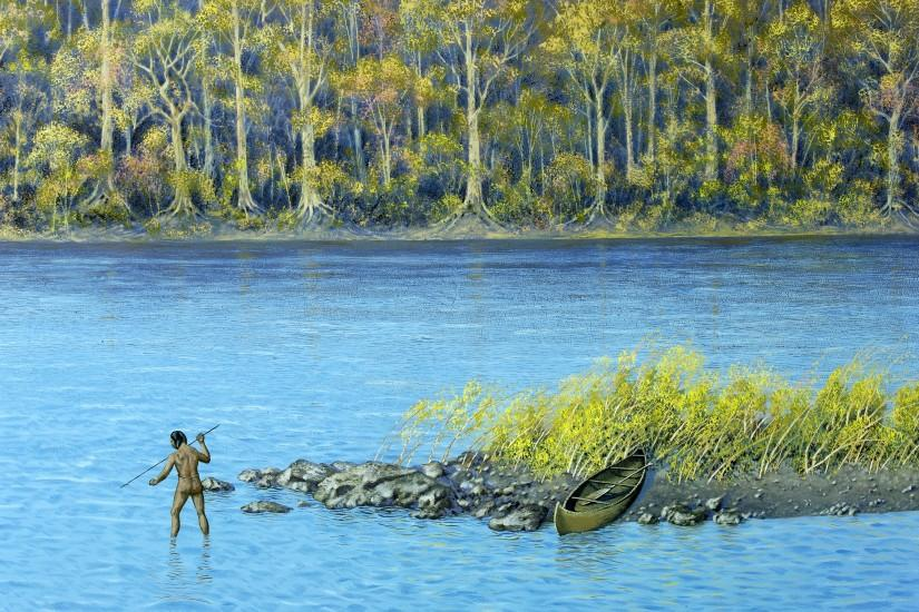 native american fishing | Background of diorama showing Native American  spear fishing.