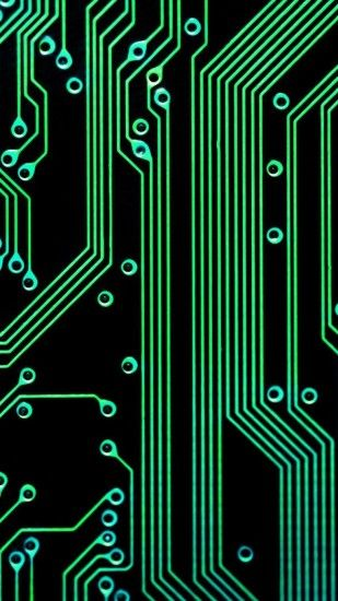 Electronic Circuit Green Black Android Wallpaper ...