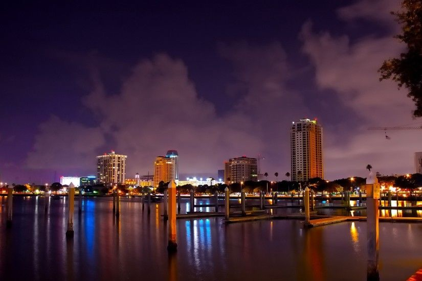 3840x2160 Wallpaper saint petersburg, florida, panorama, city, river, beach,  night