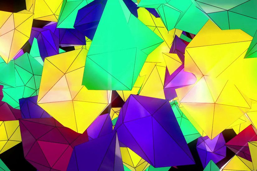 Abstract Low Poly Particles Loop Background. Full HD 3D render