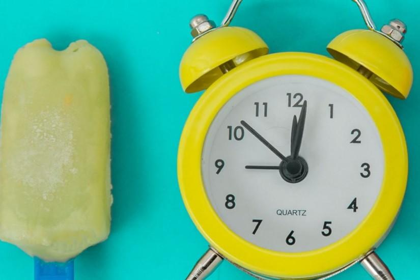 Wallpaper Yellow Alarm Clock, Ice Cream, Background