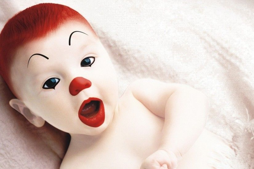 Preview wallpaper clown, make-up, baby, surprise 1920x1080