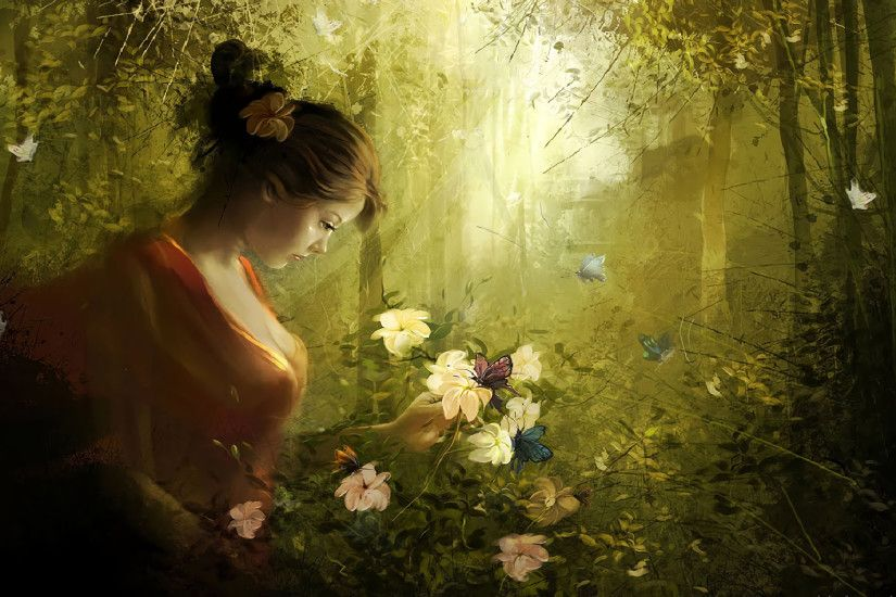 Fantasy - Women Fantasy Girl Woman Forest Butterfly Flower Wallpaper