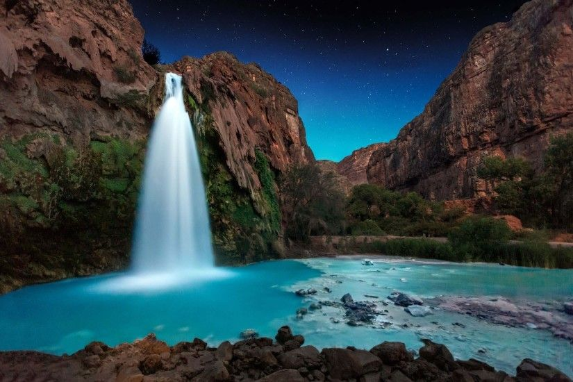nature, Landscape, Waterfall, Starry Night, Trees, Rocks, Turquoise,  Shrubs, Canyon, Long Exposure, Arizona Wallpapers HD / Desktop and Mobile  Backgrounds