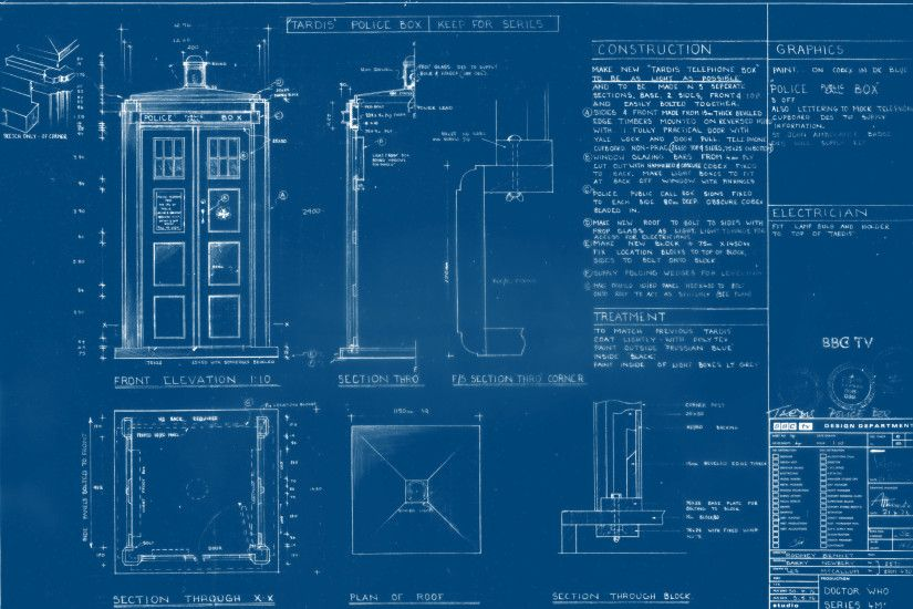 "I made a desktop wallpaper of the Newbery TARDIS (4th Doctor) Plans - old  school ""blueprint"" style ..."