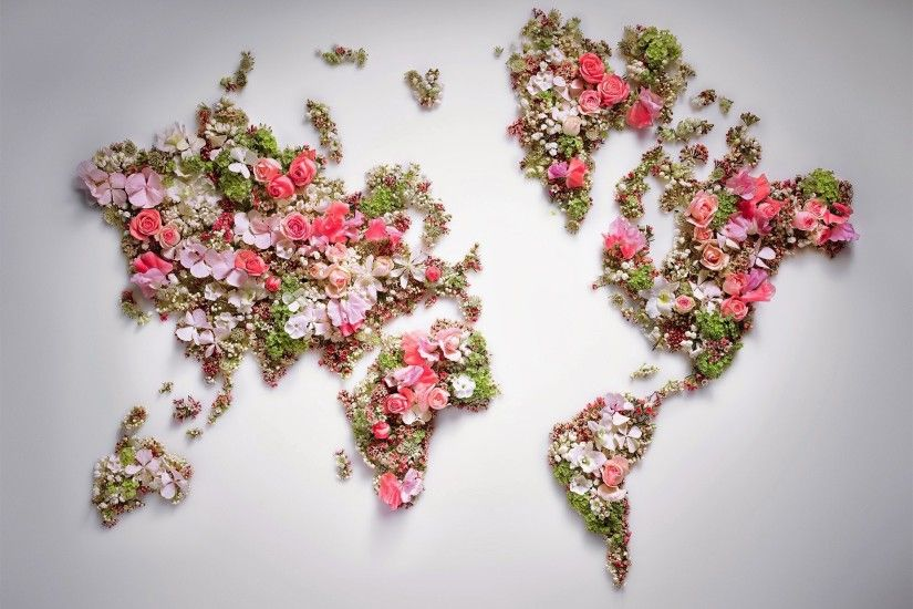 world, Flowers, World Map Wallpapers HD / Desktop and Mobile Backgrounds