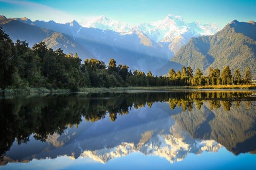nature, Landscape, Trees, Forest, Hill, Mountain, Sky, New Zealand, Snowy  Peak, Water, Lake, Mirrored, Reflection, Sunlight Wallpaper HD