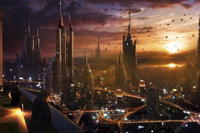 Balcony Cityscapes Futuristic Science Fiction Skyscrapers Sunset Traffic