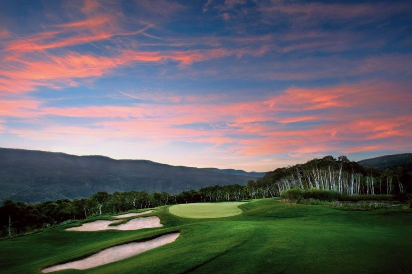 Pretty Golf Courses Pink Sky wallpapers and stock photos