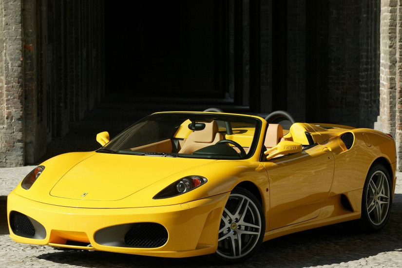Wallpaper Ferrari, F430, Spider, Yellow, Convertible, Side view HD,  Picture, Image