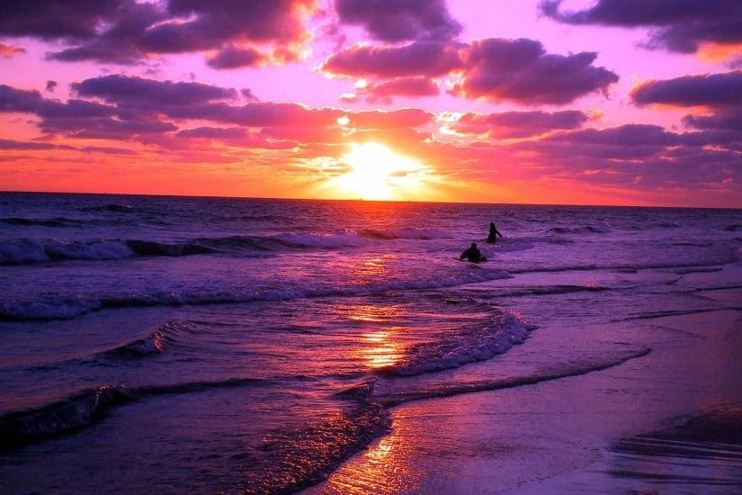 purple beach sunset wallpaper. sunset landscape purple orange waves beach  nature coast sea water clouds