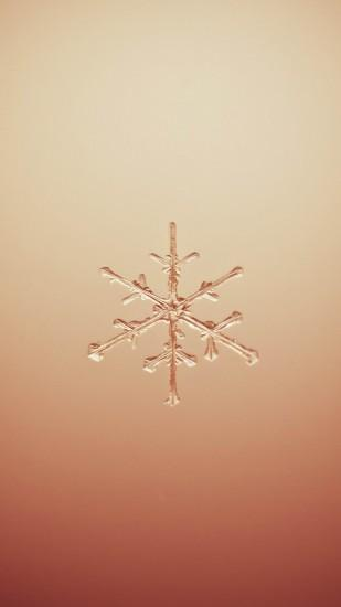 Snowflake Macro Orange Background Android Wallpaper