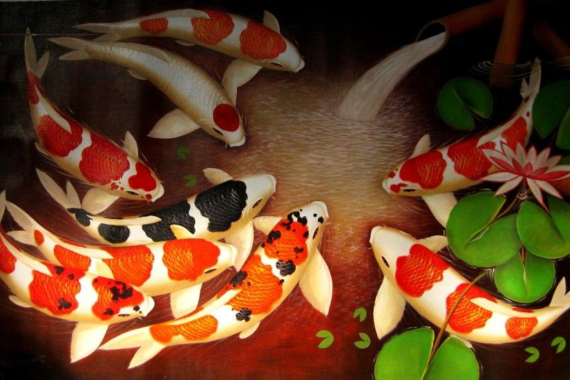 Water Lilies Koi Fish Background. ‹