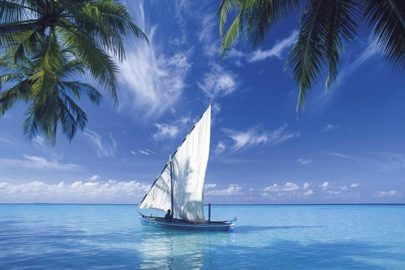 Boat on the Blue Sea Wallpaper