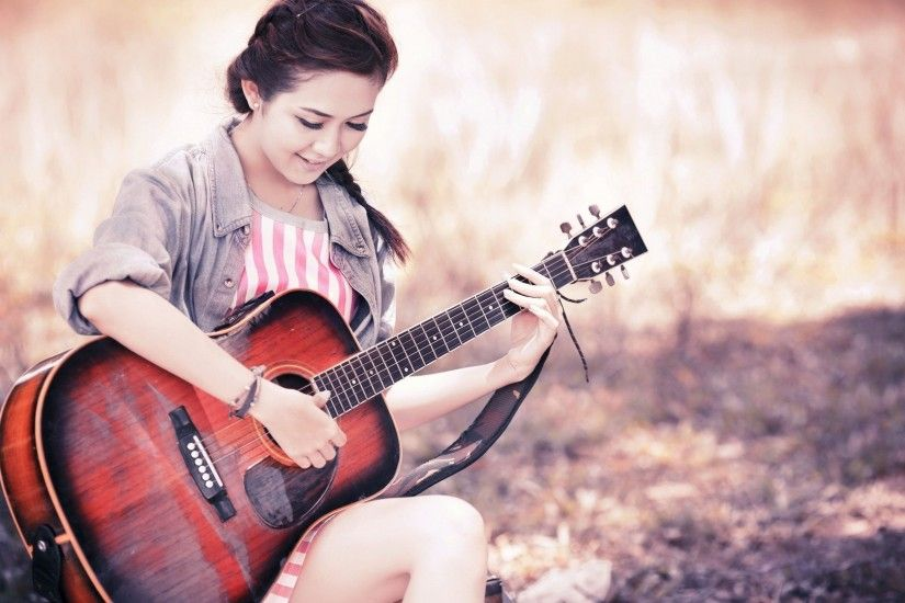 Cute Stylish Girls With Guitar Wallpaper. Download : Original Resolution