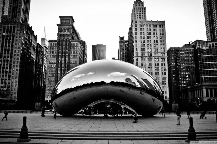 black white chicago wallpaper