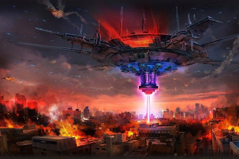 Art Mourad city ship beam destruction fire building spaceship apocalyptic  wallpaper | 1920x1164 | 166466 | WallpaperUP