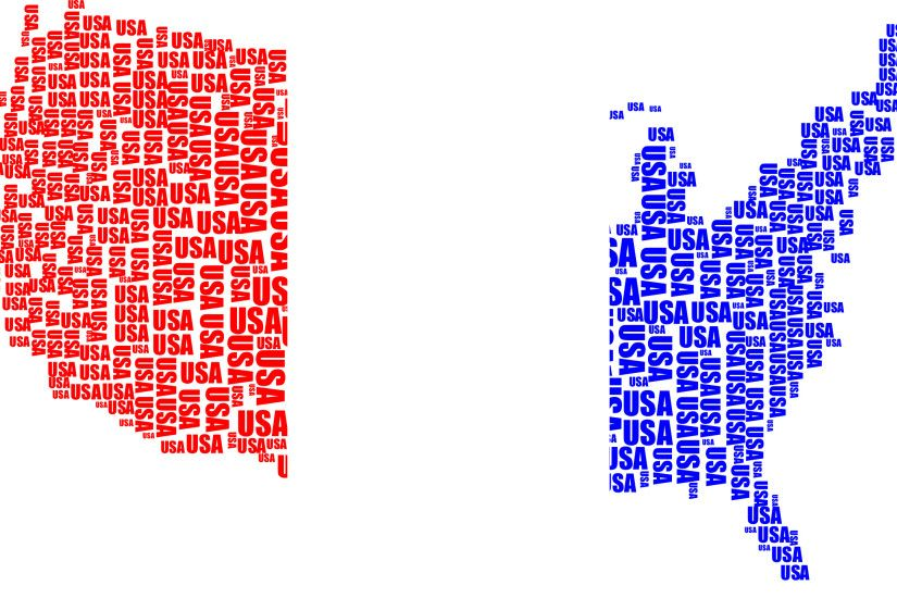USA Word Cloud Red White Blue No Background