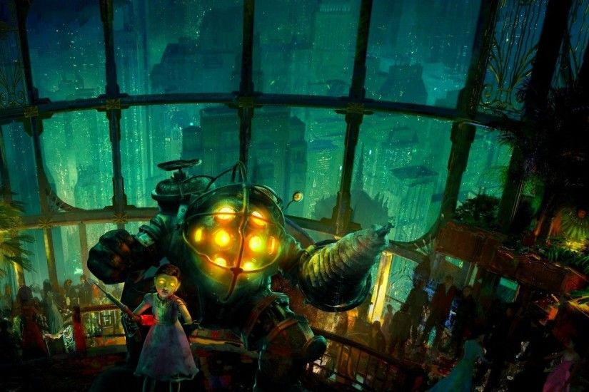 1920x1080 BioShock 2 Video Games Big Daddy Rapture Sea Wallpapers HD