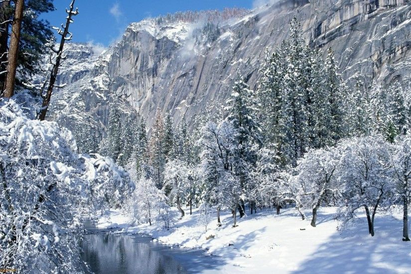 Glorious Winter Scene Forest Cliffs River Mountains Wallpaper 2560×1600