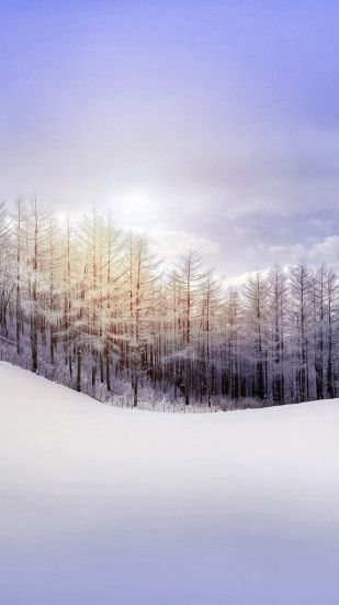 Nature Pure Snowy Forest #iPhone #6 #plus #Wallpaper