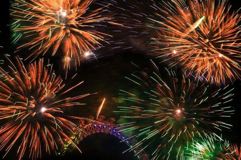 Colorful Fireworks Around The London Eye New Years Eve