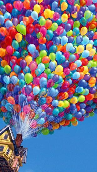 Colorful House Air Balloons iPhone 6 Plus HD Wallpaper