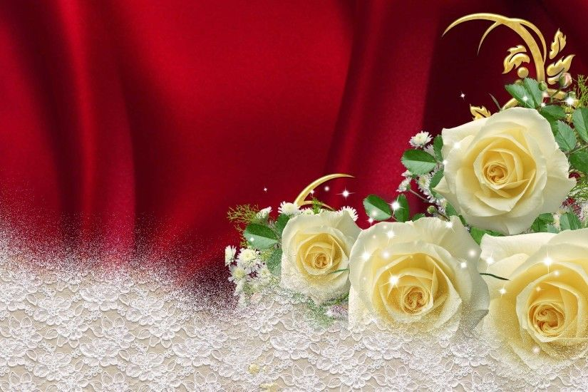 Glamour Tag - Yellow Roses Red Satin Flowers Luxury Silk Luxurious Rich  Gold Babys Breath Glamour