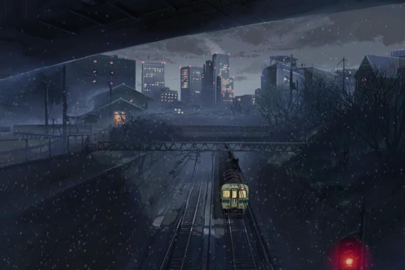 train, Night, City, Anime, 5 Centimeters Per Second Wallpaper HD
