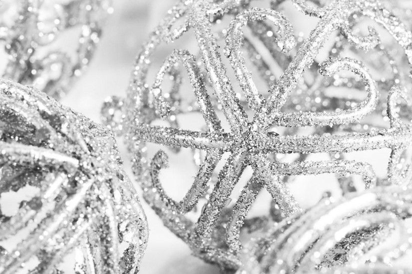 Preview wallpaper christmas decorations, glitter, silver, close-up 2560x1440
