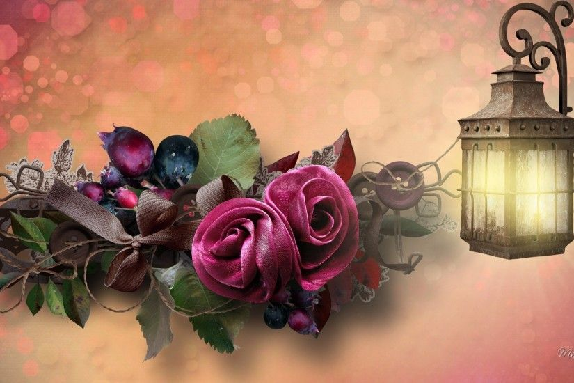 Berries Roses Bows Light Buttons Lamp Fall Floral Leaves Autumn Flowers  Riabbon Japanese Flower Wallpaper - 1920x1080