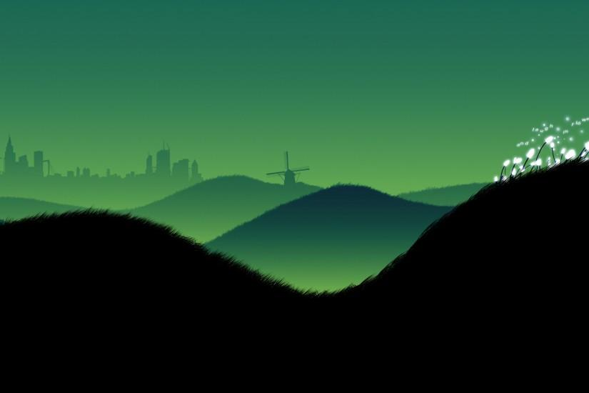 Wind turbine on a hill, black and green background