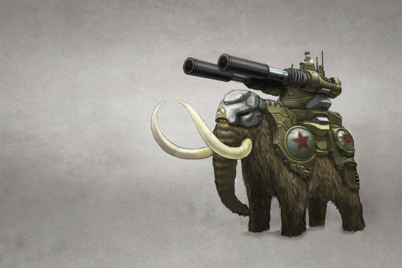 mammoth man elephant tusks weapon gun white background command & conquer  red alert
