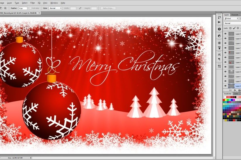 How to create a Christmas Background - Photoshop Tutorial - Timelaps -  YouTube