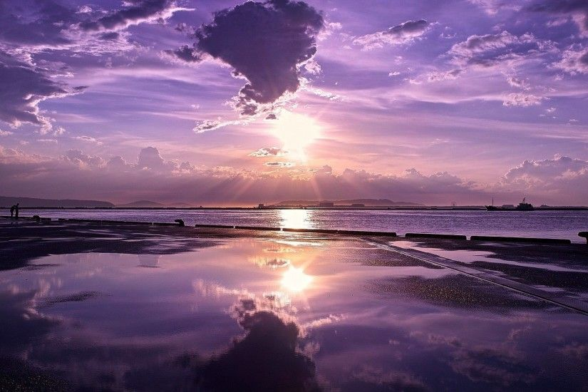 Sky Reflections Nature Skyscapes Purple Sunset Sea Wallpaper For Photo  Background Detail