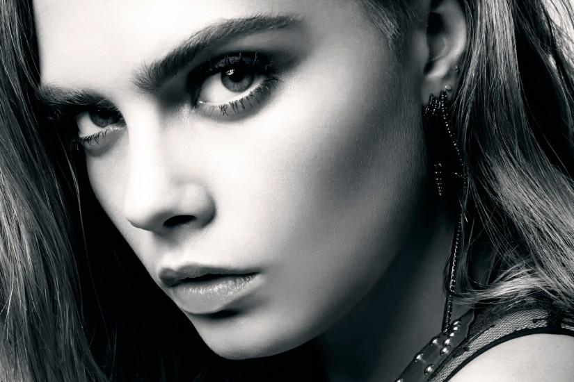 Preview wallpaper cara delevingne, celebrity, girl, face, close-up, bw