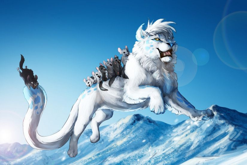 Preview wallpaper white lion, animals, games, fun, jump, winter, snow