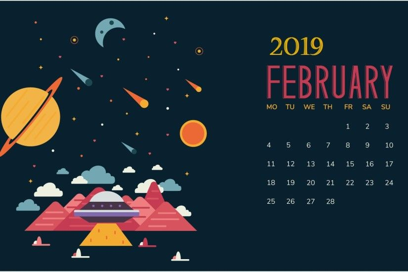February 2019 Snow Desktop Calendar wallpaper February 2019 Desktop Calendar