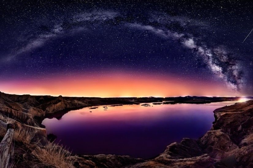 Shooting Star Galaxy View Lake Wallpaper with 2048x1181 Resolution