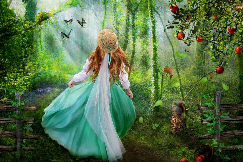Girl in the enchanted forest Digital Art HD desktop wallpaper, Tree  wallpaper, Bird wallpaper, Forest wallpaper, Woman wallpaper - Digital Art  no.