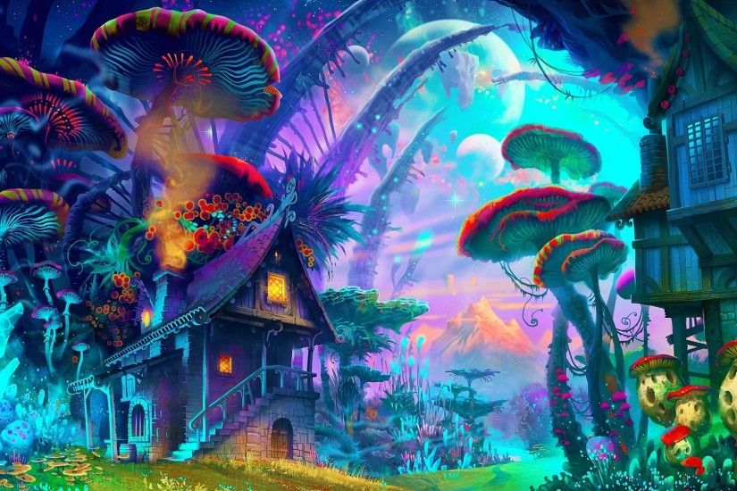 General 1920x1080 fantasy art drawing nature psychedelic colorful house  mushroom planet plants mountains