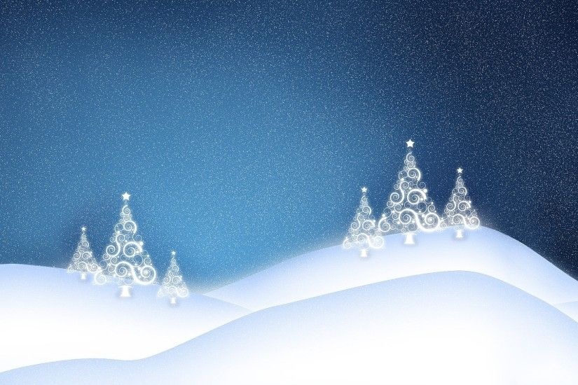 White glowing Christmas tree on the snowy hills wallpaper 1920x1080 jpg