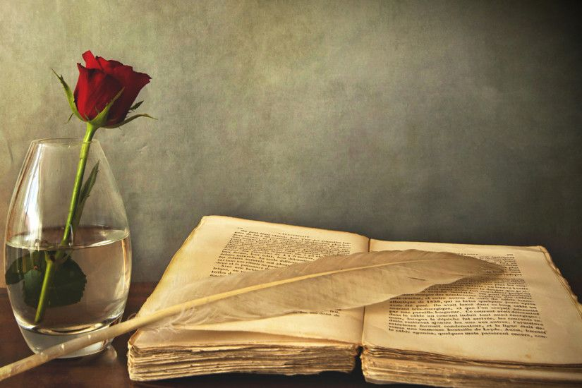 Preview wallpaper book, old, pen, table, vase, rose, red 1920x1080