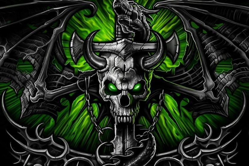 HD Live Wallpaper 2018 Source · Green Skull Wallpaper HD Wallpaper Source  Dark ...