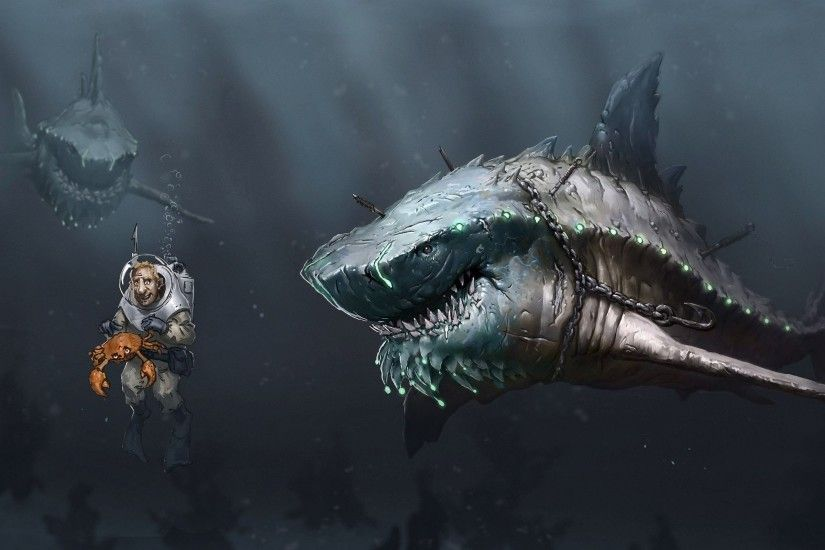 Burt Bishop - great white shark wallpaper 1080p high quality - 2560 x 1600  px