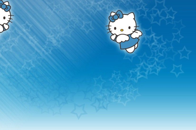 blue hello kitty background hd