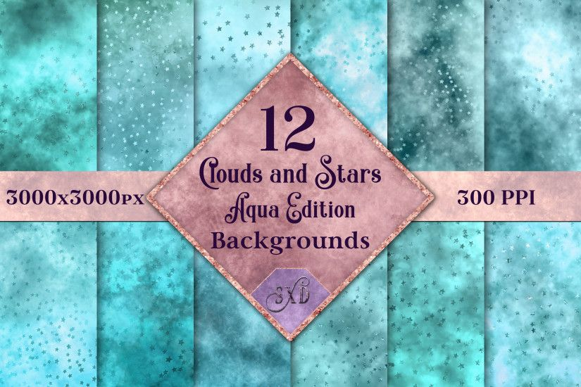 Clouds and Stars - Aqua Backgrounds Graphic by SapphireXDesigns - Creative  Fabrica